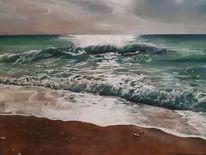 Lefkas, Meer, Strand, Pastellmalerei