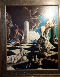 Frau, Wolken, Schach, Malerei