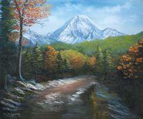 Natur, Baum, Ölmalerei, Herbst