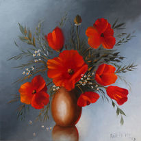Ölmalerei, Mohn, Rot, Spiegelung