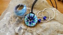 Handmade glass beads, Flameworking glass pendant, Glasschmuck handgefertigt, Ohrringe aus glas