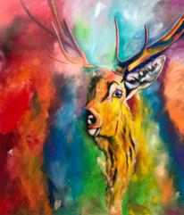 Geweih, Abstrakt, Acrylmalerei, Acrylpainting