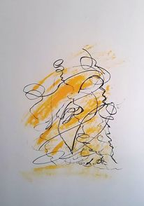 Passepartout, Gedanken, Zeichnung, Ölfarben