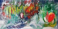 Abstrakt, Bunt, Grün, Malerei