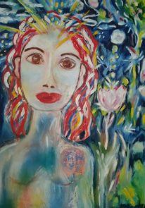 Blau, Grün, Frau, Malerei
