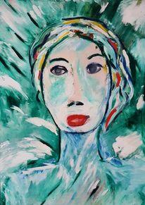 Abstrakt, Frau, Grün, Malerei