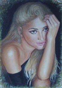 Acrylmalerei, Sinnlichkeit, Blond, Frau