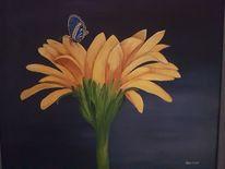 Schmetterling, Blumen, Gelb, Malerei