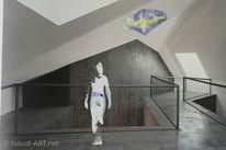 Vogel, Raum, Architektur, Collage