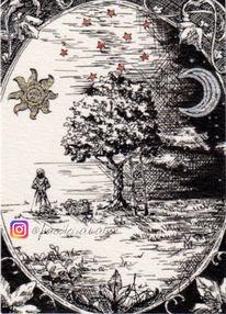 Silbertusche, Illustration, Apfel, Tuschmalerei