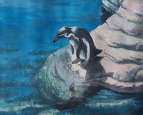 Gouachemalerei, Pinguin, Wasser, Vogel