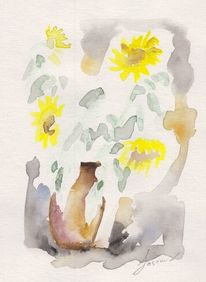 Malerei, Sonnenblumen, Pflanzen, Aquarellmalerei
