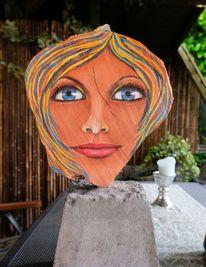 Holzskulptur, Frauenportrait, Portrait, Gartenskulptur