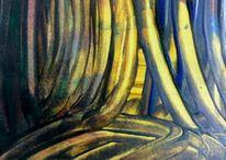 Fantasie, Abstrakte landschaft, Tiefseelandschaft, Malerei