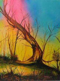Waldbrand, Acrylmalerei, Waldsterben, Natur