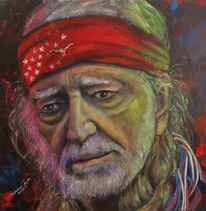 Acrylmalerei, Willie nelson, Country sänger, Portrait