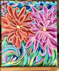 Acrylmalerei, Farben, Blumen, Pflanzen