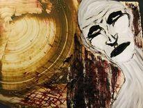 Gesicht, Kreis, Kästchen, Malerei