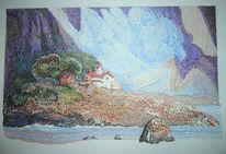 Insel, Landschaft, Farben, Zeichnungen