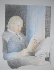 Mann, Schrift, Farben, Lesen