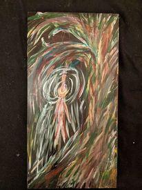 Holz, Baum, Menschen, Acrylmalerei