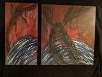 Wesen, Acrylmalerei, Holz, Baum