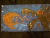 Feuer, Wolf, Hund, Malerei