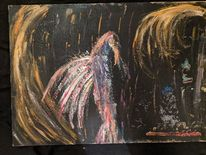 Acrylmalerei, Holz, Vogel, Untergang