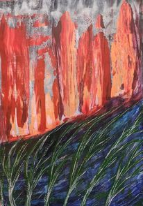 Waldbrand, Holz, Acrylmalerei, Malerei