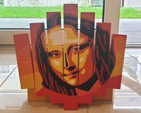 Mona lisa, Abstrakt, Holz, Acrylmalerei