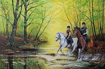Pferde, Reiter, Acrylmalerei, Malerei