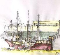 Segler, Pfeiler, Mast, Zeichnungen