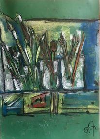 Pinsel, Spachtel, Pastellmalerei, Tonkarton