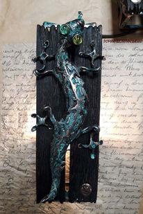 Skulptur, Figural, Metall, Mischtechnik