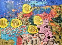 Fische, Meerwasser, Korallen, Aquarium