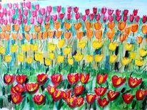 Landschaft struktur, Bunte tulpen, Malerei