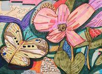 Text, Schmetterling, Blumen, Erhellend