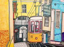 Häuser, Lissabon, Stadtansicht, Straßenbahn
