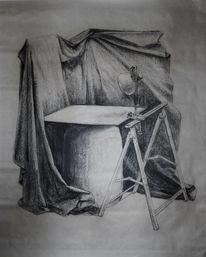 Zeichnung, Studie, Kohlezeichnung, Drapierung
