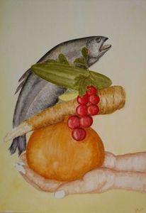 Fisch, Gemüse, Hände, Aquarell