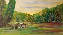 Wald, Wiese, Picknick, Aquarell