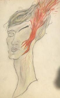 Gesicht, Frau, Feuer, Zeichnungen