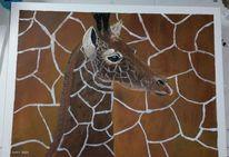 Acrylmalerei, Hund, Labrador, Giraffe