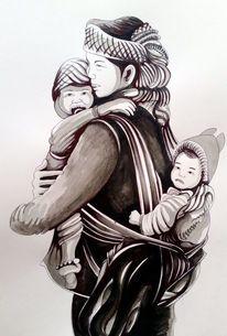 Mutter, Figur, Frau, Malerei