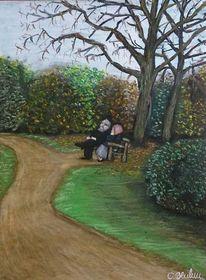 Malerei, Paar, Park