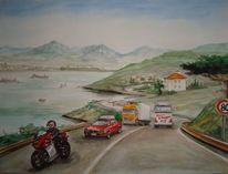 Urlaub, Kroatien, Küstenstrasse, Aquarell