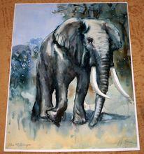 Afrika, Landschaft, Elefant, Aquarell
