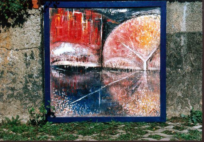 Frühwerk, Rahmen, Stadtsilouette, Malerei, Abstrakt, Stadt