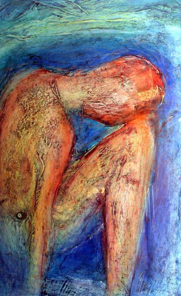 Figural, Gefühl, Auf papier, Frottage, Blau, Frühwerk