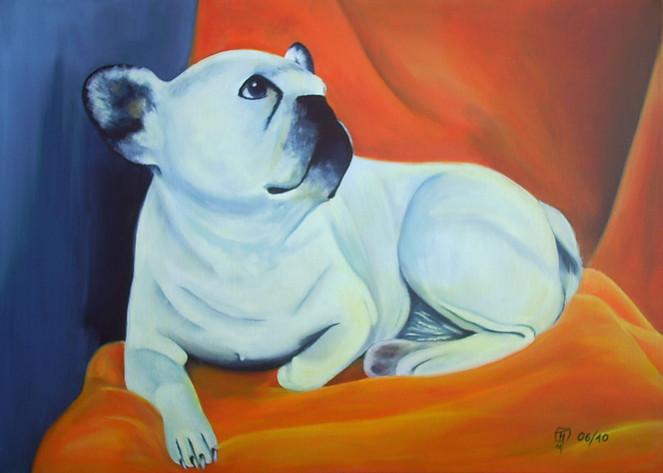 Französische bulldogge, Malerei, Figural